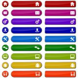 Colored web buttons. Set of colorful web buttons and icons Stock Photos