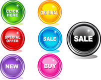 Colored web buttons vector illustration