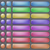 Colored web buttons. Set of blank colored web buttons of various forms Royalty Free Stock Photography