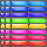 Colored web buttons. Set of blank colored web buttons of various forms Royalty Free Stock Images