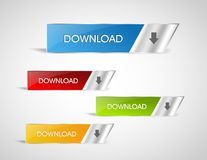 Colored web download buttons stock illustration