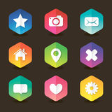 Colored web hexagon icon set with shadows Stock Photo