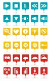 Colored web icons set. Blue, orange, red web icons for your web site Stock Images