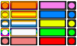 Colored Webpage Buttons. Set of square blank colored webpage buttons with matching small round button Stock Images