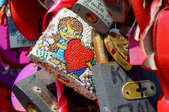 Colored wedding locks Royalty Free Stock Photos