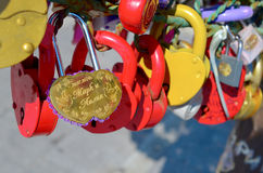 Colored wedding locks. Hanging on the iron tree royalty free stock photo