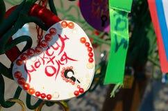 Colored wedding locks. Royalty Free Stock Image