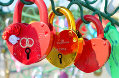 Colored wedding locks. Moscow, Russia - June 25, 2015: Colored Wedding locks on a metal tree on Luzhkov Bridge in Moscow. Selective focus. Valentine's Day stock photography
