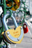 Colored wedding locks. Moscow, Russia - June 25, 2015: Colored Wedding locks on a metal tree on Luzhkov Bridge in Moscow. Selective focus. Valentine's Day royalty free stock photography