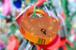 Colored wedding locks. Stock Photo