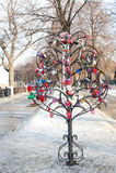 Colored wedding locks, Ryazan, Russia Stock Photo