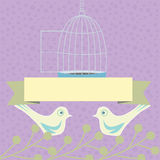Colored wedding, valentine illustration with love doves stock illustration