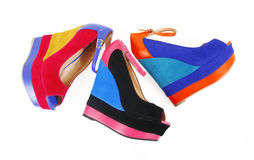 Colored wedges shoes Royalty Free Stock Photography