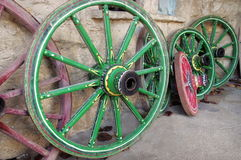 Colored cart wheels - Orthodox Monastery of the Transfiguration of God - Landmark attraction in Veliko Tarnovo, Bulgaria Royalty Free Stock Photos