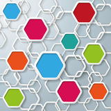Colored And White Hexagons Infographic. Colored hexagons with shadows on the grey background. Eps 10  file Stock Images