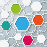 Colored And White Hexagons Infographic. Colored hexagons with shadows on the grey background. Eps 10  file Stock Photos