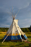Colored wigwam. Colored National wigwam of American Indians. Outdoor photography Stock Photos