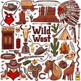 Colored Wild West Set in Hand Drawn Style stock illustration