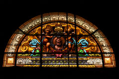 Colored window in the church of chiavari italy Stock Image