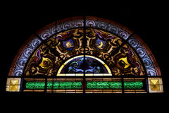 The colored window in the church of chiavari Stock Images