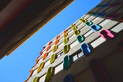 Colored windows. Building with windows in several colors Royalty Free Stock Images