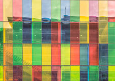 Colored windows reflections  on Montreal Convention Center Royalty Free Stock Photography