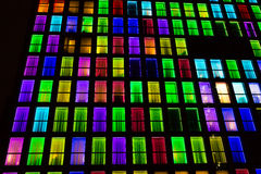 Colored windows texture. Neon light background Stock Image