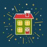 Colored winter house icon in thin line style. Festive home with wreath symbol  on blue background Stock Photo