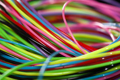 Colored wire. Interlacing of multi-colored communication wires a background Stock Photography