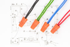 Colored wires. On the circuit of the wiring Stock Images