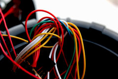 Colored wires. stock images