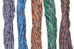 Colored wires of computer networks Royalty Free Stock Photography