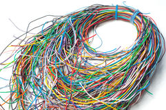 Colored wires isolated on a white background Stock Images