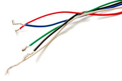 Colored wires isolated on white Royalty Free Stock Photography
