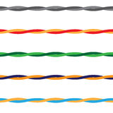 Colored Wires threads or rope with seamless pattern, vector. Royalty Free Stock Images