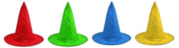 Colored witch hats Royalty Free Stock Images