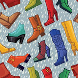 Colored women's boots ,shoes,raindrops seamless Royalty Free Stock Photos
