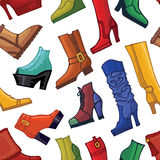 Colored women's boots ,shoes seamless pattern Royalty Free Stock Images