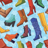 Colored women's boots ,shoes,snowflakes seamless Royalty Free Stock Image