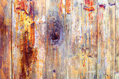 Colored wood peeling paint Stock Photography