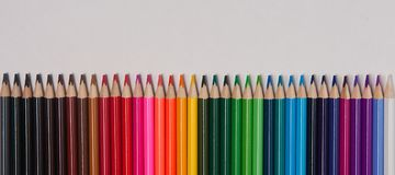 Colored  wood pencils  on table isolated Royalty Free Stock Image