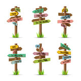 Colored wooden arrow signboards direct vector set Royalty Free Stock Images