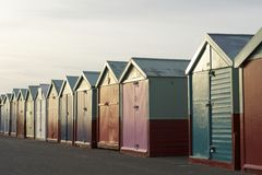 Colored Wooden Beach Huts Stock Photo