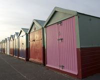 Colored Wooden Beach Huts Stock Photos