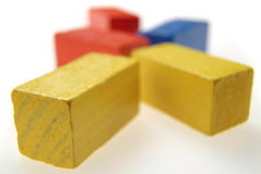 Colored wooden blocks. (perspective Royalty Free Stock Images