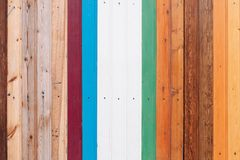 Colored wooden board with screws texture background stock images