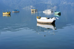 Colored wooden boat. Bright colored wooden boats in Pokhara Royalty Free Stock Photo