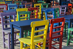 Colored wooden chairs in Kas, Antalya. Turkey Stock Images