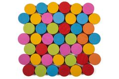Colored wooden circles isolate. Colored wooden circles on a white background, isolate royalty free stock photography