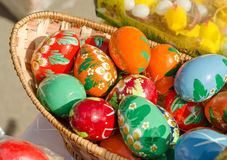 Colored wooden Easter eggs at the fair royalty free stock image